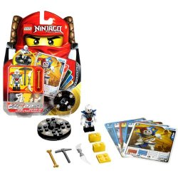 "Lego Year 2011 Ninjago ""Masters Of Spinjitzu"" Animated Series Battle Figure Set # 2116 - Krazi With Golden Bone, Pickaxe, And Double Bladed Bone Dagger Plus Black Lightning Spinner, 1 Character Card, 4 Battle Cards And Lego Bricks (Total Pieces: 22)"