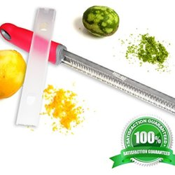 Cheese Grater Lemon Zester With Blade Cover - Our Premium Handheld Stainless Steel Microplane Peeler Is A Multi Purpose Kitchen Tool - Use On Citrus Fruits Like A Lime Or Lemons Or As A Shredder For Parmesan Cheddar And Mozzarella - 100% Guaranteed
