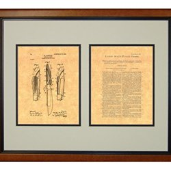 "Hunting-Knife Patent Art Print In A Honey Glazed Wood Frame (16"" X 20"")"