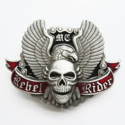 Motorcycle Chain Skull Rider Biker Belt Buckle Gurtelschnalle Boucle De Ceinture 'With Enamel