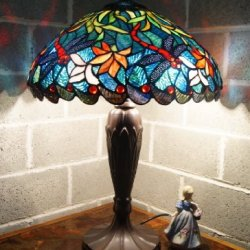 """Luxee Tiffany Style 16"""" Wide Blue Dragonfly Table Lamp@Musuem Quality"""