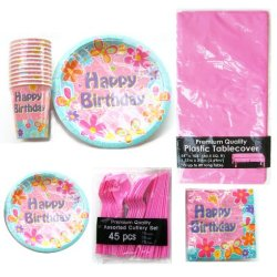 Birthday Party Complete Kit For 12 (Pink) - Including Balloons, Table Cover, Cups, Plates, Dessert Plates, Napkins & Cutlery Set