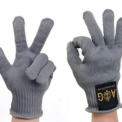 Kitchen Slicing Meat Or Work Safety Cutting Protection Gloves For Metalwork-Reinforced Stainless Steel Wire Mesh Gloves-Cut-Resistant Cut-Protection Anti-Scratch Anti-Skid Gloves (Grey)