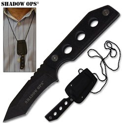 Shadow Ops G10 Handle Military Neck Knife With Sheath Full Tang
