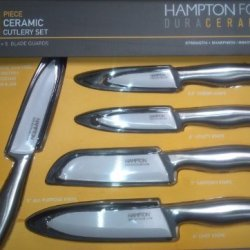 Hampton Forge Duraceramica 10-Pc Knife Set Stainless Handles