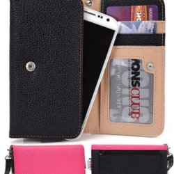 Doogee Dagger Dg550 Wallet & Wristlet Case || Black And Magenta With Credit Card Holder