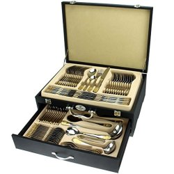 Healthyclad Silverware Flatware Set 18/10 304 Surgical Stainless Steel W/24K Gold Plated Accents Service For 12