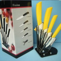 """3""""4""""5""""6"""" Handle Paring Fruit Utility Chef Knife Kitchen Yellow Color Ceramic Knives Set 6Pcs A Set New Style 2013 Holiday Sale By Coolahiny"""