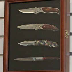 Knife Display Case Shadow Box, With Glass Door, Wall Mountable Walnut Finish (Kc02-Wa)