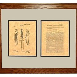 "Hunting-Knife Patent Art Print In A Honey Red Oak Wood Frame (16"" X 20"")"