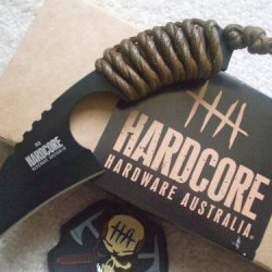 Hardcore Hardware Australia Lfk01 Tactical Knife Coyote Para-Cord Handle Khaki Sheath
