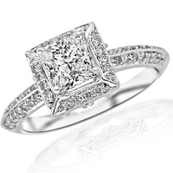 1.05 Carat Princess Cut Knife Edge Victorian Square Halo Diamond Engagement Ring (I Color, Vs1 Clarity)
