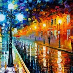 Modern Art Canva Rain In City Painting Knife Paintng Wall Art Canvas Unframed Painting 30X18In/75X45Cm