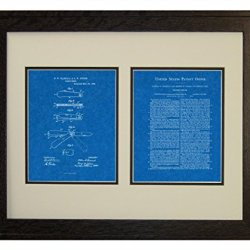 "Pocket Knife Patent Art Blueprint Print In A Rustic Oak Wood Frame (16"" X 20"")"