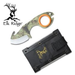 """Er-127. """" Elk Ridge """" Infinity Field Knife. Camo Coated 5.5"""" Overall """" Elk Ridge """" Infinity Field Knife. 440 Stainless Steel Camo Coated Blade And Handle. Includes Hard Nylon Case And Sharpening Stick (Attached To The Case)5.5"""" Oveall Knife Fixed Blade Kn"""