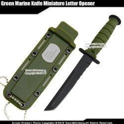 Green Small Marine Combat Knife Replica Letter Opener Dagger Serrated W/ Sheath