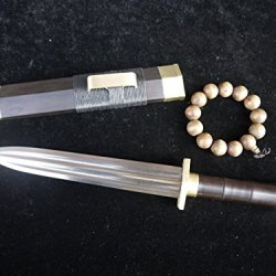 Small Chinese Han Sword/Pattern Steel Dual-Slot Blade/Brass Fitting/China Dagger
