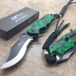 """M-Tech Assisted Opening Rescue Skull Design For Hunting Or Camping Tatical Pocket Knife 3.5"""" 2 Tone Half Serrated Stainless Steel Blade"""