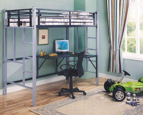 Picture of Comfortable Metal Twin Workstation Loft BunkBed Office Computer Desk (B003R0CS1O) (Computer Desks)