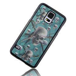 Moon Mood Line Stripe 3D Colored Painting Pattern Plastic Back Case For Samsung Galaxy S5 Sv I9600 With Pink Stylus Pen And 3.5Mm Blue Crystal Diamond Butterfly Dustproof Plug (Katana Knife Skull Plaid Blue White Gray Black)