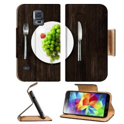Green Grapes Fork Knife Dish Samsung Galaxy S5 Sm-G900 Flip Cover Case With Card Holder Customized Made To Order Support Ready Premium Deluxe Pu Leather 5 13/16 Inch (148Mm) X 2 1/8 Inch (80Mm) X 5/8 Inch (16Mm) Luxlady S V S 5 Professional Cases Accessor