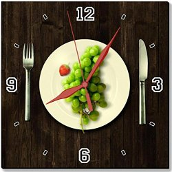 """Green Grapes Fork Knife Dish 10"""" Quartz Plastic Wall Square Clock Classic Analog Setting Customized Inch Hand Needle Made To Order Support Ready Assembly Required Luxlady Dial Time Personalized Gift Battery Operated Accessories Graphic Designed Model Hd T"""