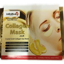 Infinitive Beauty 10 X Pack New Crystal 24K Gold Powder Gel Collagen Eye Mask Masks Sheet Patch, Anti Ageing Aging, Remove Bags, Dark Circles & Puffiness, Skincare, Anti Wrinkle, Moisturising, Moisture, Hydrating, Uplifting, Whitening, Remove Blemishes &