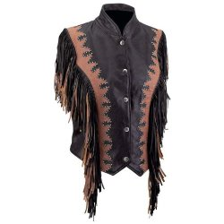 Standout Vests Exclusive Motorcycle Brn/Blk Leather Fringe Vest-L Incomparable