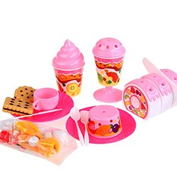 Holy Stone Luxury Fruit Cake Play Food Set For Kids With Cutting Knife, Putting,Cookies,Icecream & Toppers