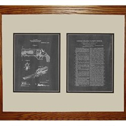 "Knife Attachment For Revolvers Patent Art Chalkboard Print In A Honey Red Oak Wood Frame (16"" X 20"")"