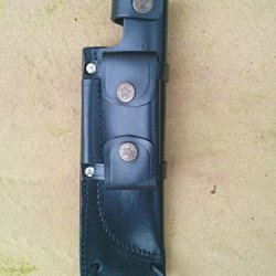 """Genuine Leather Sheath For 7"""" Knife With Removable Pouch (3 Sizes) (Fits 3.75"""" Blade)"""