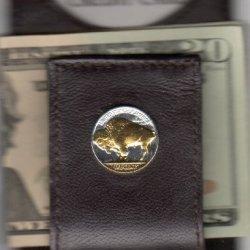 8Fmc - 2-Toned Gold On Silver Old U.S. Buffalo Nickel (Folding) Money Clips
