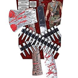California Costumes Men'S Zombie Hunter Kit, Black/Silver/Red, One Size