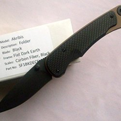 Spartan Blades Akribis Folder Knife Dark Earth Frame Black Carbon Fiber Handles