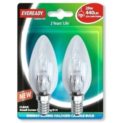 Eveready Lighting Candle Eco Halogen 28 Watt (40 Watt) Ses/E14 Small Edison Screw Card Of 2 Eves4877