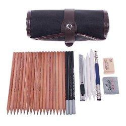 18Pcs Sketch Pencils Extender Paper Eraser Knife Pen Drawing Kit W/ Bag