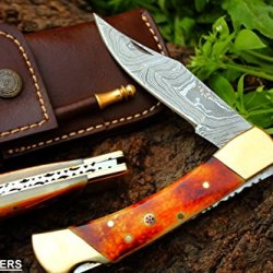 """Dkc-36 Stag 9 """" Long, 5"""" Folded 6.8Oz Damascus Folding Pocket Knife Dkc Knives Tm Hand Made Incredible Look And Feel"""