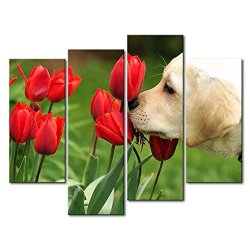 Green 4 Panel Wall Art Painting Golden Retriever Puppy Smelling The Tulips Prints On Canvas The Picture Animal Pictures Oil For Home Modern Decoration Print Decor For Kids Room