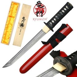Ryumon - Handmade Folded 1065 High Carbon Steel Dragon Tsuba Tanto - Red (Limited Edition)