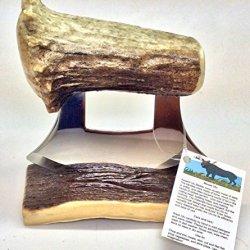 Made In Alaska Jumbo Huge Natural Moose Antler Ulu Knife Matching Stand