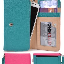 Doogee Dagger Dg550 Wallet & Wristlet Case || Aqua Green And Magenta With Credit Card Holder