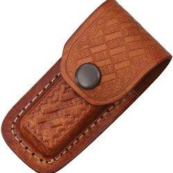 Sheath Folding Knife Sheath, Brown Leather W/ Embossed Basketweave, 3-3.5In Sh1130 /Sh200 Brown
