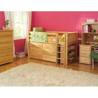 Image of Maxtrix Kids Box 2 / One One 2 Twin Box Low Loft Bed with Low Bookcase and Six Drawer Dresser (Box 2 / One One 2)