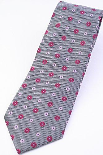 (フランクリンミルズ) FRANKLIN MILLS グレー系 シルク 花柄 小紋 ジャカード ネクタイ jg12947
