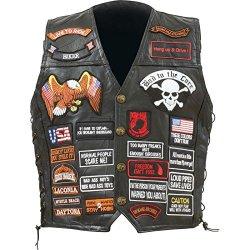 Buf Lth Vest W/42 Patches - L