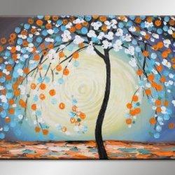 Almond Blossoms In Spring Palette Knife Painting Tree Artwork Living Room Art Decor Modern Artist Signed