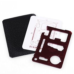 Hot Claret Red Stainless Steel Multipurpose Pocket Card Survival Tool 12 Function