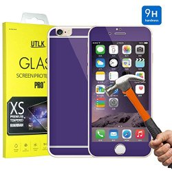 "Iphone 6 Colorful Screen Protector [Tempered Glass], Utlk Fully Body Tempered Glass Body Sticker 2.5D Round Edge 9H Hardness Colored Full Body Premium Tempered Glass Screen Protector For Iphone 6 4.7 Inch (I6 4.7"" Purple)"