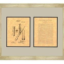"Hunting-Knife Patent Art Print In A Natural Raw Wood Frame (16"" X 20"")"