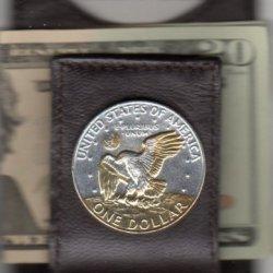 W-72Fmc - 2-Toned Gold & Silver Eisenhower Dollar Eagle - (Folding) Money Clips